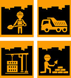 set yellow urban building industrial icons