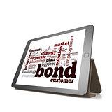 Bond word cloud cloud on tablet