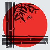 Bamboo trees and leaves with red sun on white background.