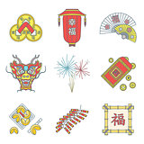 colored outline chinese new year icons set