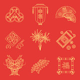 yellow gold outline on red chinese new year icons set