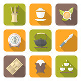 color flat style chinese tea ceremony equipment icons set