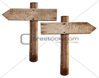 Old wooden road signs right and left arrows isolated