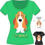 Vector T-shirt with dog Basset Hound