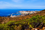 Los Cristianos and La Gomera, view from Guaza mountain. Tenerife