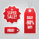 Red price sale tags stickers set