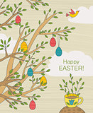 Easter Greeting Card With Colorful Eggs On Branches