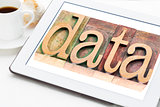 data word on  digital tablet
