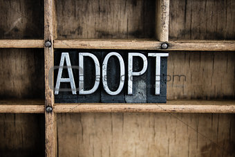 Adoption Concept Metal Letterpress Word in Drawer