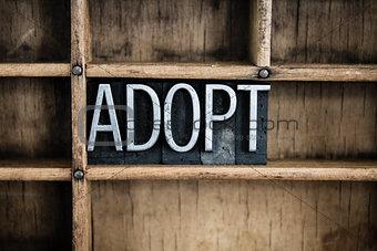 Adoption Concept Metal Letterpress Word in Drawer