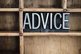 Advice Concept Metal Letterpress Word in Drawer