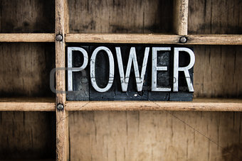 Power Concept Metal Letterpress Word in Drawer