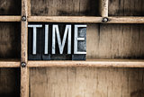 Time Concept Metal Letterpress Word in Drawer