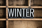 Winter Concept Metal Letterpress Word in Drawer