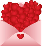 Envelope opened with love hearts