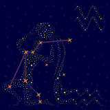 Zodiac sign Aquarius over starry sky