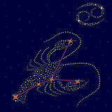 Zodiac sign Cancer over starry sky