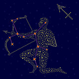 Zodiac sign Sagittarius over starry sky