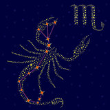 Zodiac sign Scorpio over starry sky