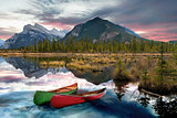 Canoe adventure on Vermilion Lakes