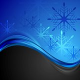 Abstract dark blue wavy Christmas background