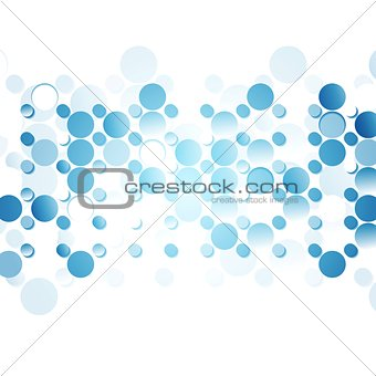 Blue abstract circles on white background