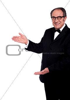 Portrait of senior man representing copy space