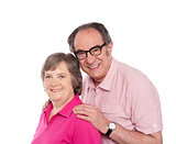 Smiling aged love couple posing