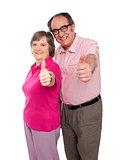 Senior couple gesturing thumbs up