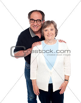 Portrait of smiling aged couple in love