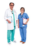 Senior male doctor posing with female nurse