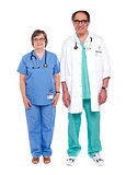 Two senior male and female physicians