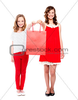 Beautiful teenagers holding shopping bag