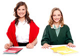 Portrait of school girls with their notebooks
