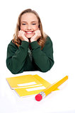 Isolated girl smiling with hands on chin