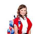 Smiling teenager student with colorful bag