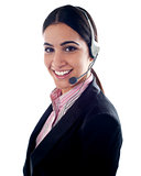 Female telemarketer with headsets