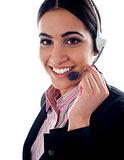 Customer service operator holding mic