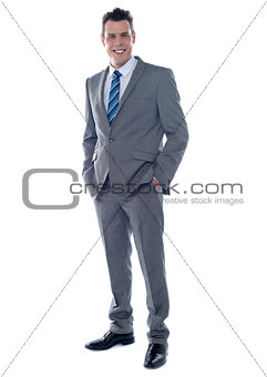Business executive. Full length portrait