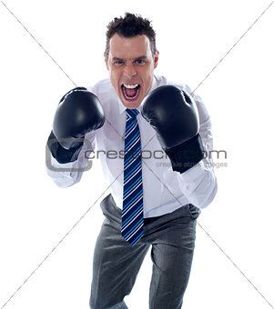 Angry corporate male wearing boxing gloves