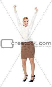 Beautiful blonde female enjoying success