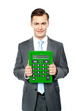 Corporate man showing big calculator