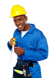 Portrait of african repairman with measuring tape