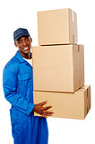 Young delivery guy holding stack of parcel boxes