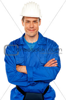 Attractive repairman posing with style