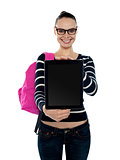 College girl showing blank touch screen device