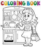 Coloring book child playing theme 1