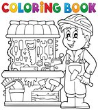 Coloring book child playing theme 2