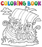 Coloring book with Viking ship