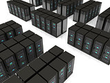 3d illustration of server farm
